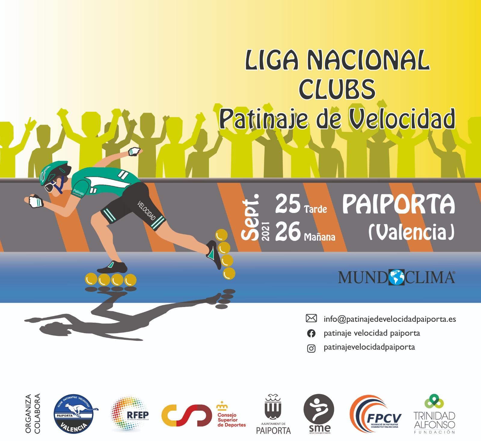 Cartel liga Nacional Clubs patinaje de velocidad Paiporta