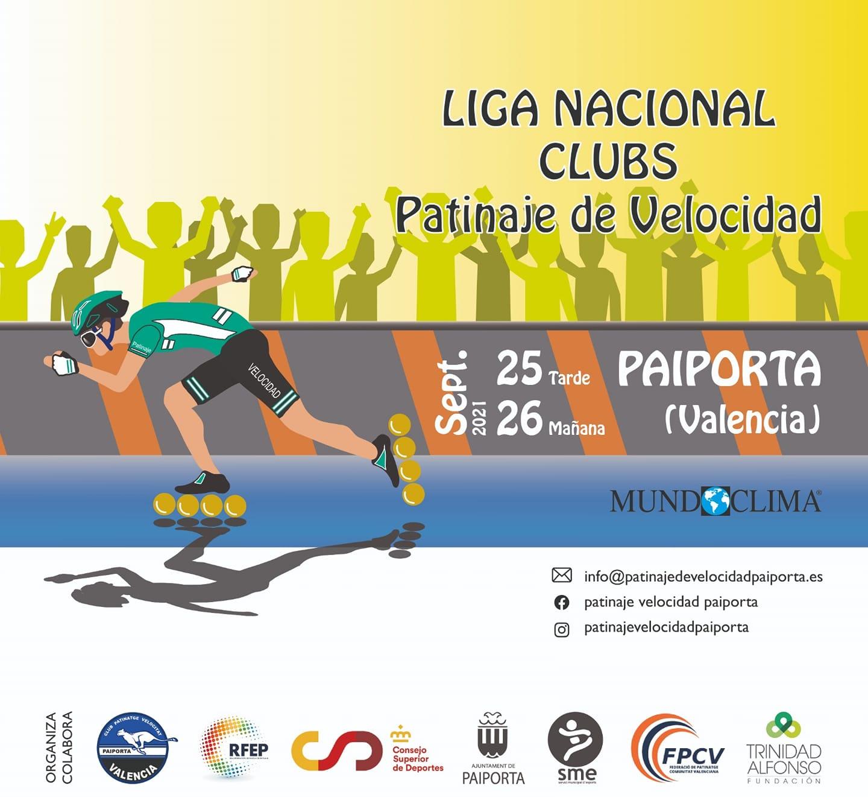 Cartel Liga Nacional Clubs patinaje de velocidad 2021